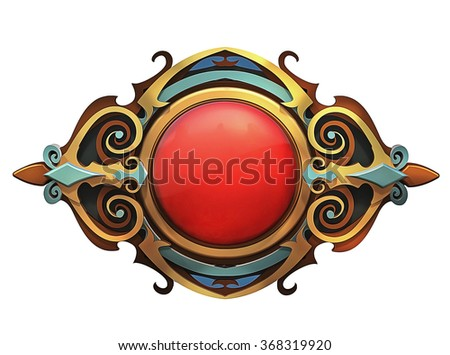 Illustration of steampunk emblem with red gem and gold - stock photo