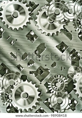 illustration of steampunk inspired cogs and clockwork - stock photo