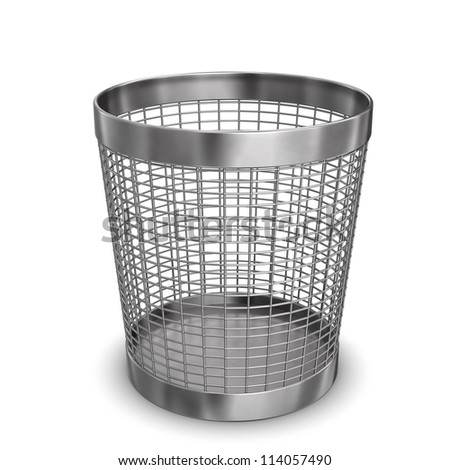 Illustration of steel wastebasket. White background.