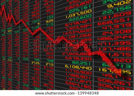 illustration of stock market quotes board with down trend arrow - stock photo