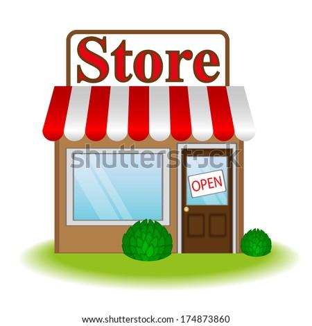 Illustration of store icon. Raster version  - stock photo