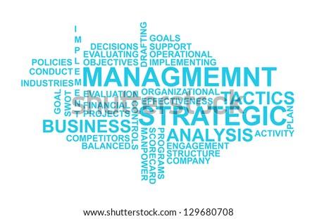 Illustration of strategic management Wordcloud - stock photo