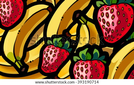 Illustration of strawberry and banana summer fruit mix - stock photo