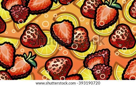 Illustration of strawberry in fresh sparkling lemonade - stock photo