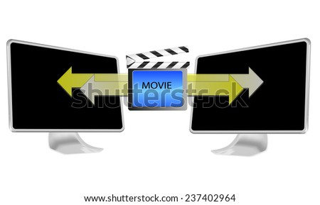 Illustration of streaming movie on pc isolated on white background - stock photo