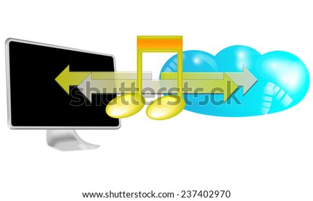 Illustration of streaming music in cloud isolated on white background - stock photo