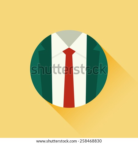 Illustration of suit and red tie. Formal suit. Male clothing suit. Business concept. Flat design style - stock photo
