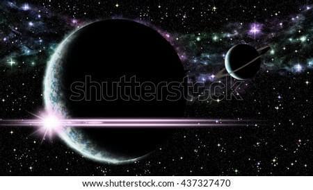Illustration of sunrise over an alien planet and satellite somewhere in deep space - stock photo