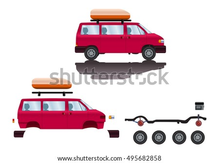 illustration of SUV car spare-part cartoon road vehicle type