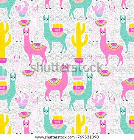 Illustration Of Sweet Llama Or Alpaca And Cactus On White Background With Dots Hand Draw