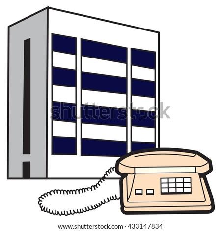 Illustration of symbolic buildings telecom and telephone - stock photo