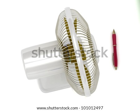 Illustration of table fan and a red pen on a white background