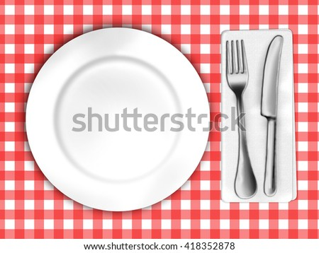 illustration of tablecloth with plate and cutlery