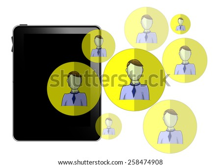 Illustration of tablet with social media heads isolated on white background - stock photo