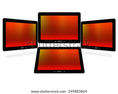 illustration of tablets isolated on white background