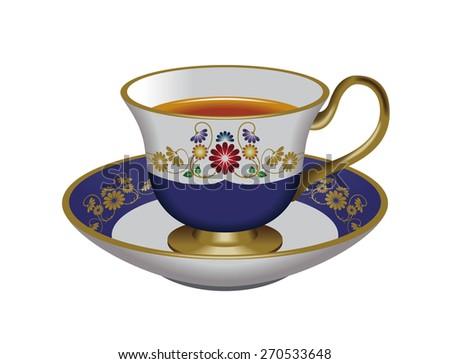 Illustration of tea cup & saucer. Blue. / Tea, Herbal tea, Oolong tea. - stock photo