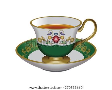 Illustration of tea cup & saucer. Green. / Tea, Herbal tea, Oolong tea. - stock photo