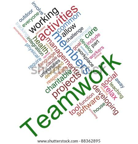 Illustration of teamwork wordcloud on white background - stock photo