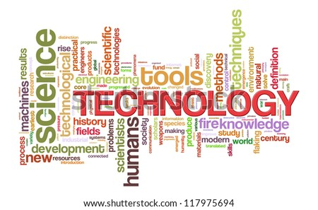 Illustration of technology word tags wordcloud - stock photo