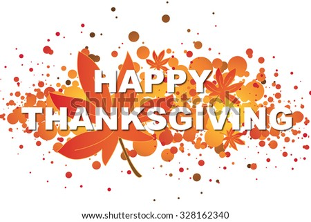 Illustration of thanksgiving card with written happy thanksgiving.  - stock photo