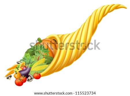 Illustration of thanksgiving or harvest festival cornucopia horn full of fresh produce food - stock photo