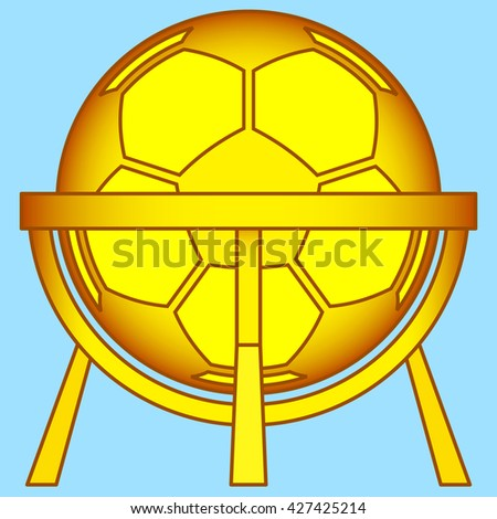 Illustration of the abstract soccer ball on stand construction icon - stock photo