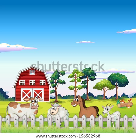 Illustration of the animals inside the fence with a barnhouse at the back