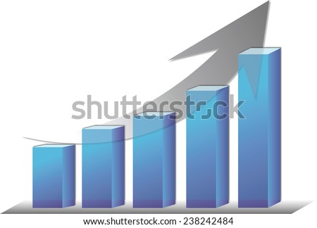 Illustration of the bar graph with rising arrow.illustration of bar graph with descent arrow . - stock photo