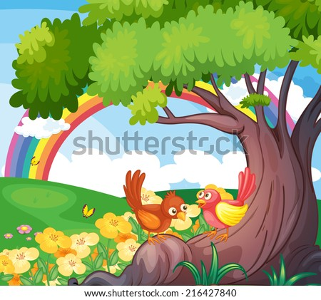 Illustration of the birds under the tree with a rainbow in the sky - stock photo