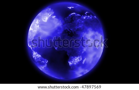 illustration of the blue earth globe in space