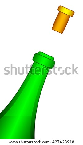 Illustration of the bottle and taken-off cork - stock photo