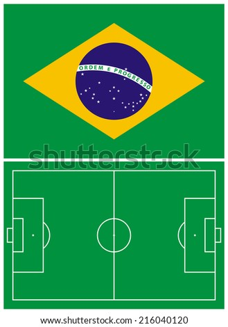 Illustration of the Brazil flag and the soccer field - stock photo