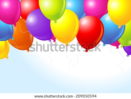 Illustration of the bunch of colorful balloons flying up - stock photo