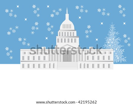 Illustration of the Capitol building in Washington DC with falling snow and a Holiday tree - stock photo