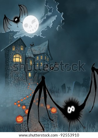 Illustration of the castle for Halloween
