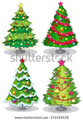 Illustration of the christmas trees on a white background - stock photo