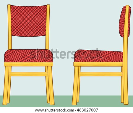 Illustration of the classic domestic padded chair. Front and side view