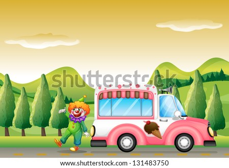 Illustration of the clown and the pink icecream bus