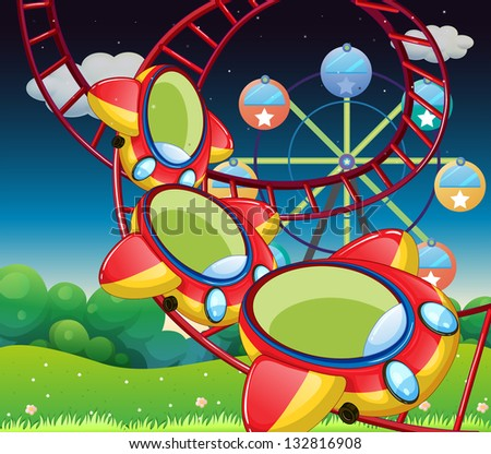 Illustration of the colorful roller coaster - stock photo