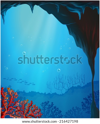 Illustration of the corals inside the seacave - stock photo