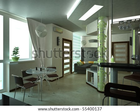 illustration of the cozy interior of the kitchen in a furnished apartment