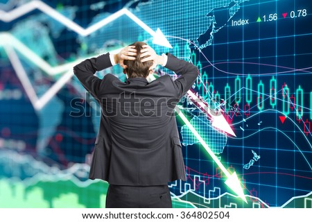 Illustration of the crisis concept with a businessman in panic - stock photo
