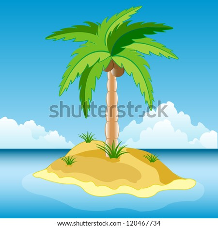 Illustration of the desert island in ocean.Raster version