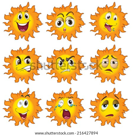 Illustration of the different facial expressions of the sun on a white background - stock photo