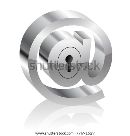 Illustration of the E-mail symbol with lock. Internet security concept. - stock photo