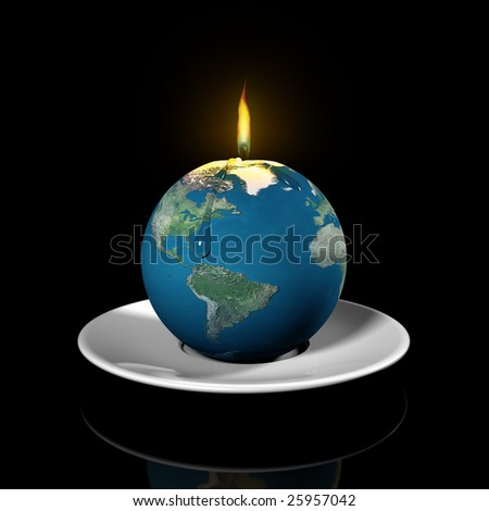 Illustration of the earth as a candle illustrating the finite properties of the earth resources