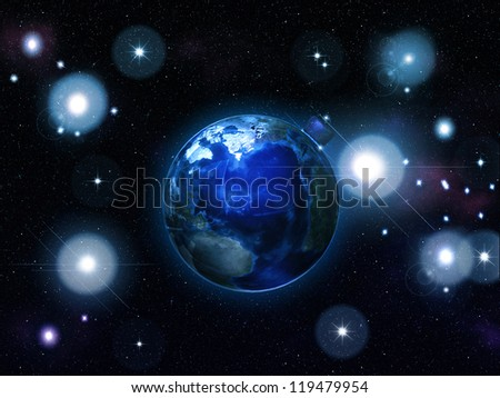 Illustration of the earth as an ornament in space. Elements of this image furnished by NASA - stock photo