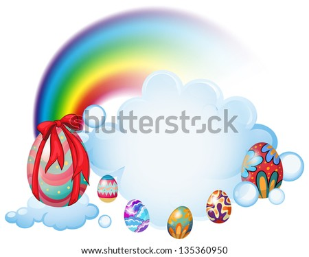 Illustration of the easter eggs above the clouds on a white background