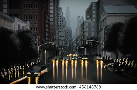 Illustration of the evening street in the downtown district with glare from headlights of cars