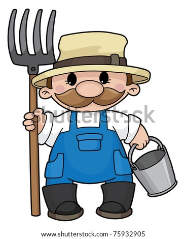 Illustration of the farmer with a pitchfork and a bucket raster version